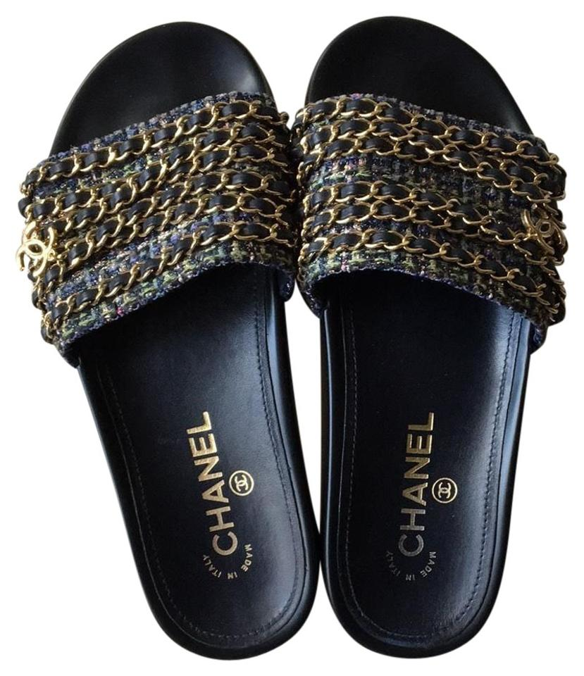 d0597df9bc93 Chanel Navy Blue Tropiconic Chain Tweed Slide Sandals Size US 7 ...