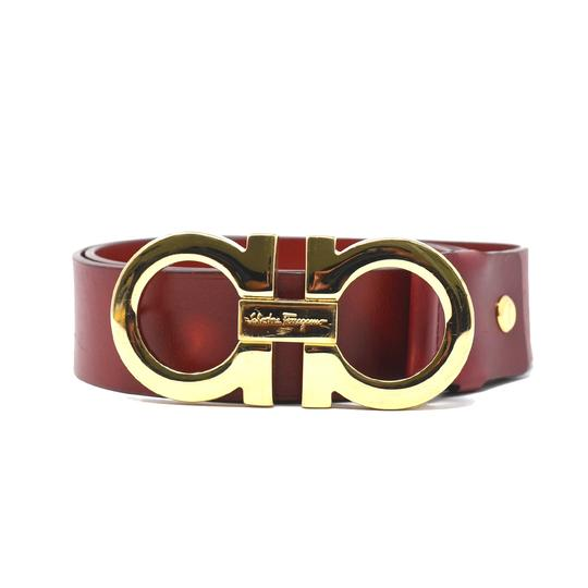 Salvatore Ferragamo Red Men's Gold Buckle Belt - Tradesy