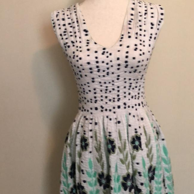 Max Edition short dress Blue Flowers with pale mint green vines and stems. on Tradesy