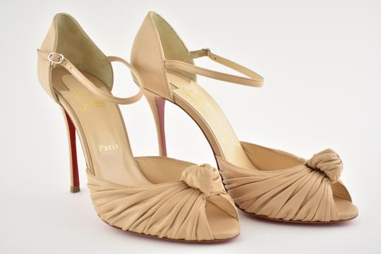 Christian Louboutin Marchavekel Stiletto Ankle Strap Peep Toe Classic nude Pumps