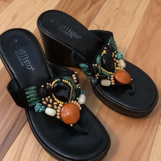 Callisto of California Browns faux Turquoise and Amber Sandals