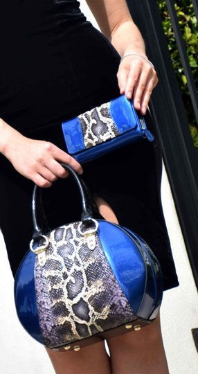 Bravo Handbags Leather Satchel in Blue