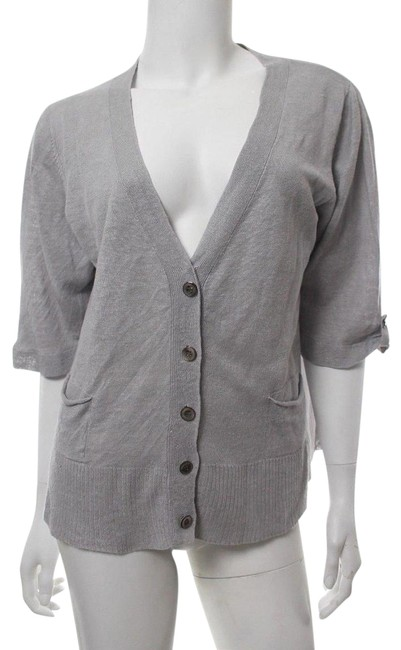 Preload https://img-static.tradesy.com/item/24009274/eileen-fisher-gray-linen-short-sleeve-sweater-cardigan-size-12-l-0-1-650-650.jpg