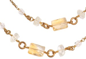 Stephen Dweck CITRINE and CRYSTAL LONG BRONZE NECKLACE