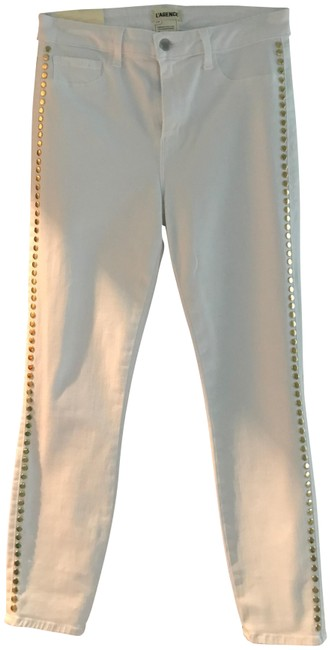 L'AGENCE Margot Gold Studded Skinny Jeans-Light Wash