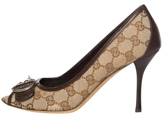 Preload https://item5.tradesy.com/images/gucci-tan-and-brown-gg-canvas-peep-toe-pumps-size-eu-395-approx-us-95-regular-m-b-24009284-0-1.jpg?width=440&height=440