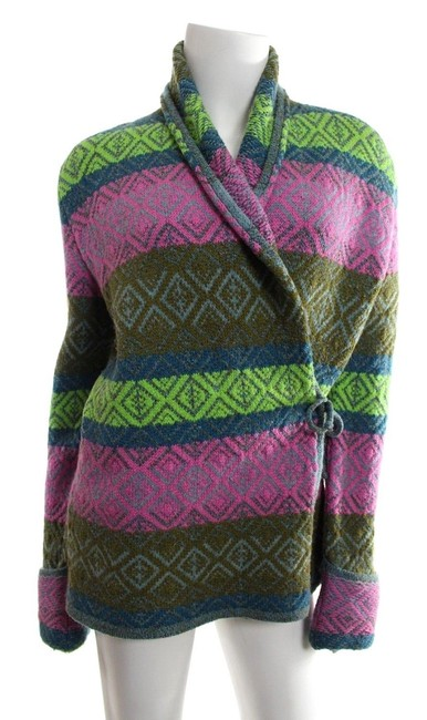 Preload https://item1.tradesy.com/images/oilily-greenpink-wool-sweater-cardigan-size-8-m-24009290-0-0.jpg?width=400&height=650