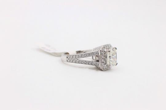 J Radiant Diamond Halo 2.96 Tcw 18k White Gold Engagement Ring