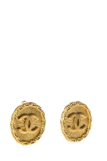 Chanel CHANEL Gold Tone Clip-On CC Logo Earrings