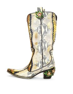 Vicini Python Cowboy Enamel Flowers Metallic Multi-colored Boots