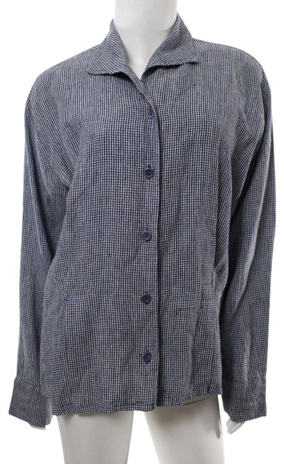 Preload https://item3.tradesy.com/images/flax-dark-bluewhite-gingham-check-linen-shirt-button-down-top-size-12-l-24009337-0-1.jpg?width=400&height=650