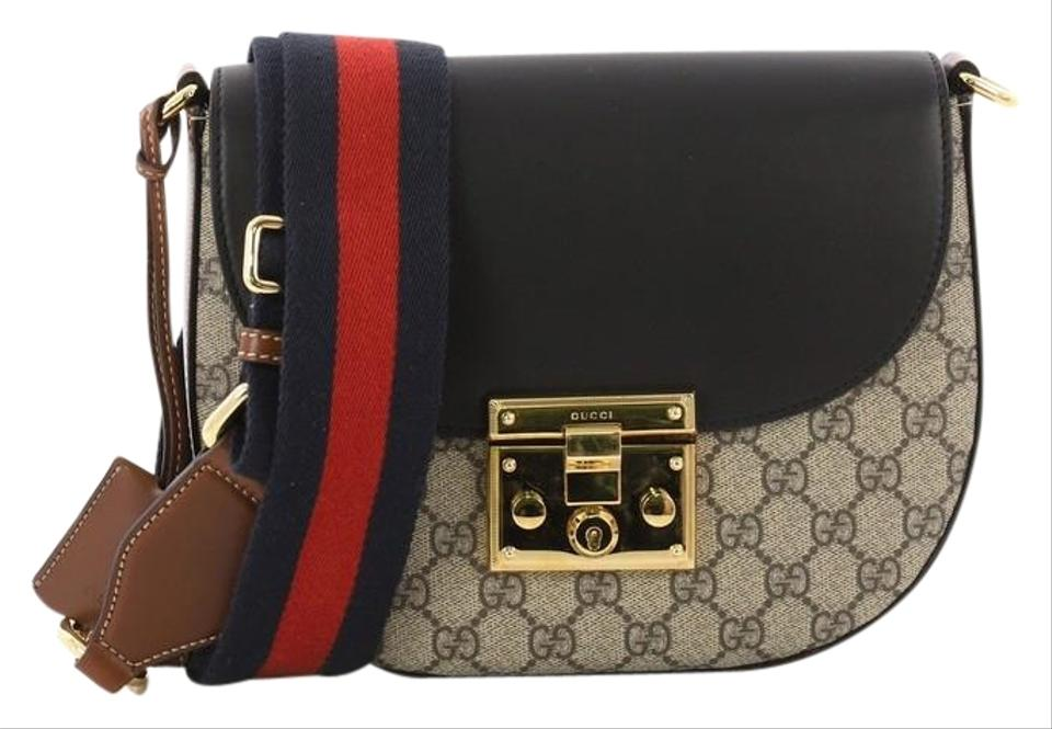 be7ce9d3805 Gucci Padlock Saddle Gg Coated Leather Medium Brown and Black Canvas ...