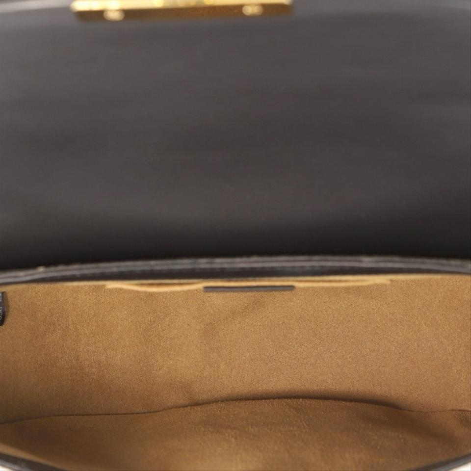 0092fd398 Gucci Padlock Saddle Gg Coated Leather Medium Brown and Black Canvas ...