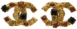 Chanel Chanel 01A Gold Clip on Earrings with Stones