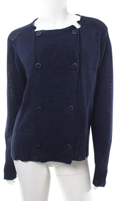 Preload https://item1.tradesy.com/images/eileen-fisher-navy-blue-double-breasted-linen-cotton-sweater-cardigan-size-12-l-24009360-0-1.jpg?width=400&height=650