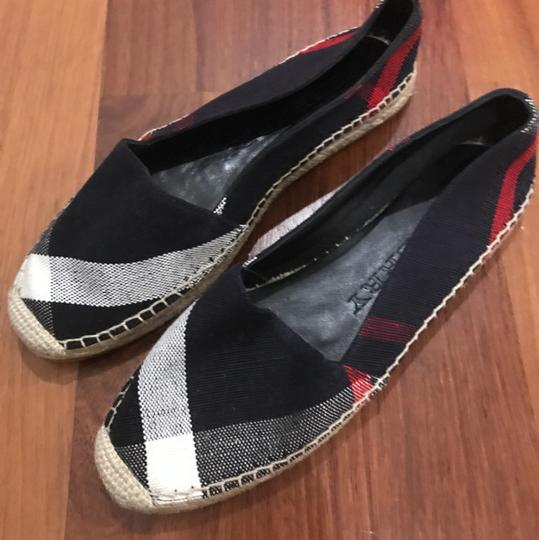 Burberry Hodgeson Navy Check Canvas Espadrille Flats Shoes Navy Flats