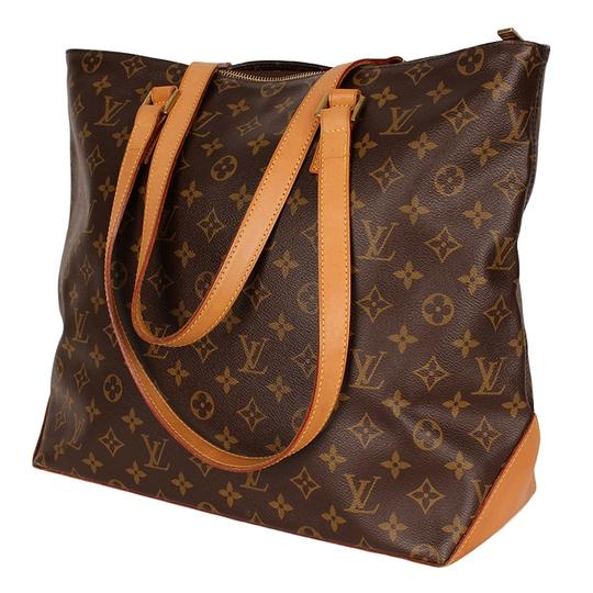 Louis Vuitton Cabas Mezzo Monogram Leather Canvas Tote in Brown