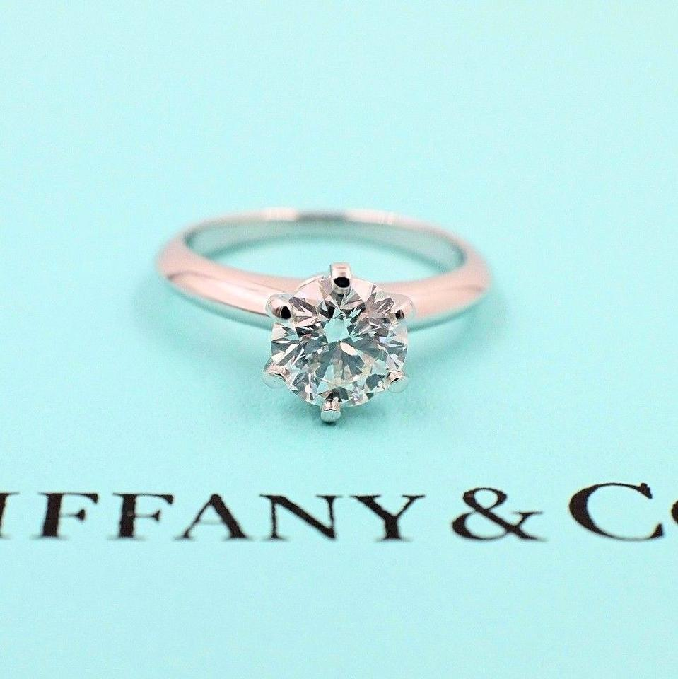f502bb1d1 Tiffany & Co. I Vs2 Platinum and Diamond Solitaire Round 1.09ct Engagement  Ring Image ...