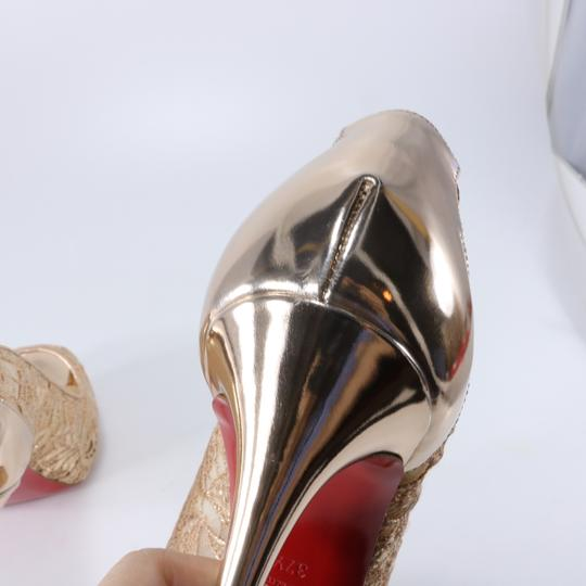 Christian Louboutin Bridal Lace Platform Peep Toe bronze, nude, gold, cipria, 120mm Pumps