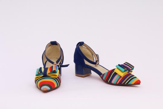 Open247Market Rainbow Pinstripe Statement Womens Cute Flats Pride Gold/Gunmetal/Metallic Pumps