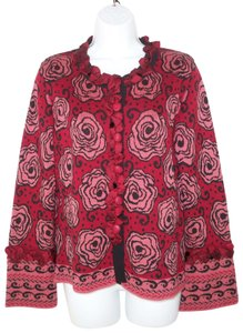 CoVelo Floral Silk Roses Ruffled Cardigan