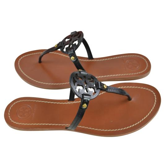 Tory Burch Thong Leather 6 Black Sandals