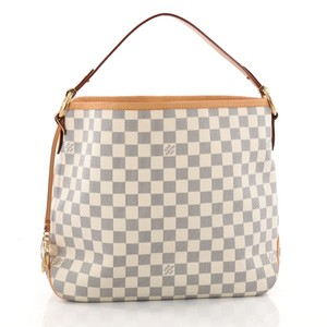 Louis Vuitton And White Neverfull Delightful Discontinued Damier Shoulder Bag