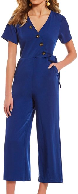 Preload https://item4.tradesy.com/images/royal-button-front-faux-mid-length-romperjumpsuit-size-4-s-24009513-0-1.jpg?width=400&height=650