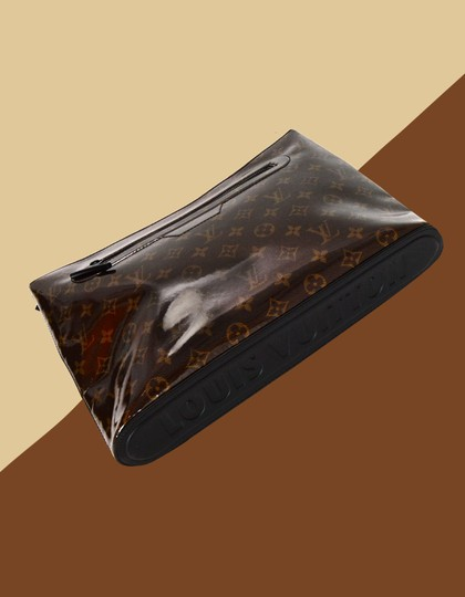Louis Vuitton Glazed Logo Monogram Pouch Brown Travel Bag