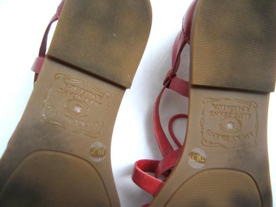 Lucky Brand Leather Blue Jeans America Gladiators Red Sandals