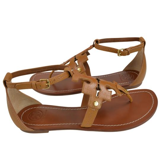 Tory Burch Thong Tumbled Leather 8 Royal Tan Sandals