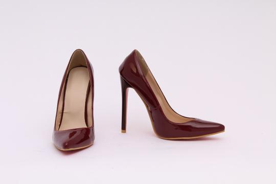 Open24Market.com Closed Pointy Toe Closed Toe Statement Heels Maroon/ Burgundy/ Wine Pumps