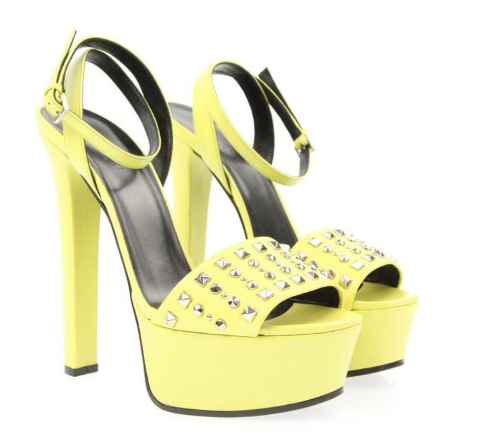 70d4912bd1 Gucci Yellow Leila Mimosa Flower Leather Studded Platform Sandals # 374523  Pumps
