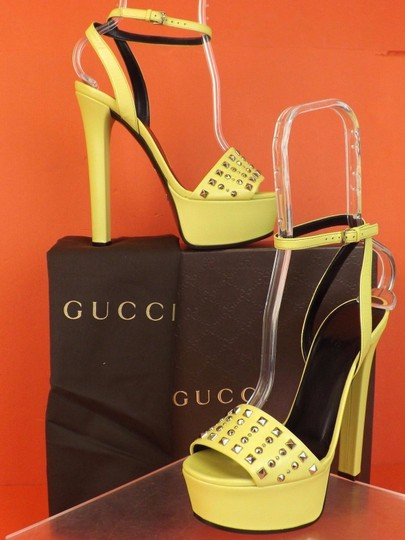Gucci Studs Spike Buckle Yellow Pumps