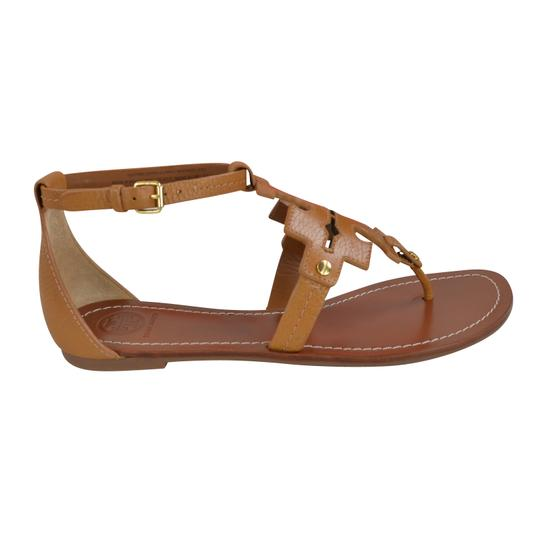 Tory Burch Thong Tumbled Leather Royal Tan Sandals