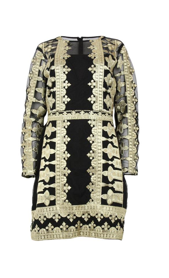 e3337d0fff6 Nicole Miller Black Gold Scroll Embroidery Illusion Short Cocktail ...