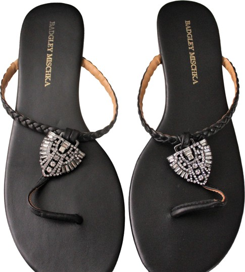 Preload https://img-static.tradesy.com/item/24009589/badgley-mischka-black-jeweled-thong-sandals-size-us-75-regular-m-b-0-1-540-540.jpg