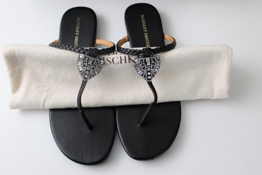 Badgley Mischka Leather Jeweled Designer Black Sandals