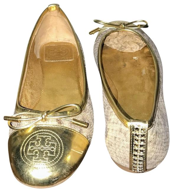 Item - Gold/Gray Snake Print Embellished Flats Size US 7.5 Regular (M, B)
