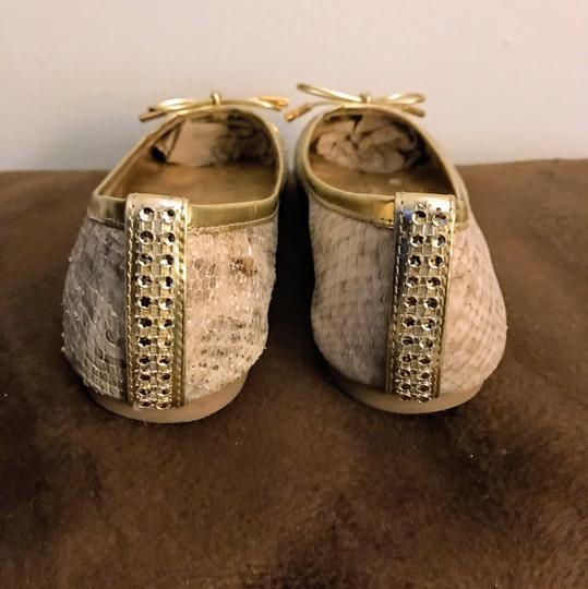 Tory Burch GOLD/GRAY SNAKE PRINT Flats