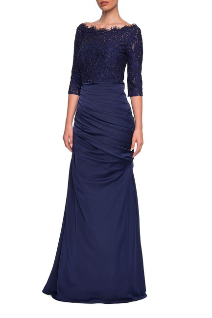 Preload https://item5.tradesy.com/images/la-femme-navy-24926-gathered-mermaid-satin-gown-mother-of-the-bride-long-formal-dress-size-12-l-24009609-0-0.jpg?width=400&height=650