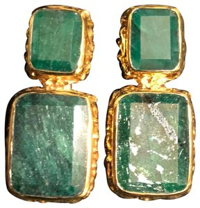 Margaret Elizabeth Emerald and gold statement earrings
