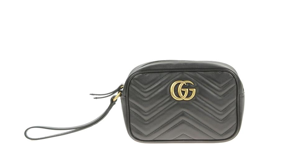 df70b96a5d6e Gucci Marmont Wristlet Black Leather Clutch - Tradesy