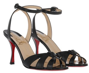 Christian Louboutin Spike Ankle Strap Spike Heels Black Sandals