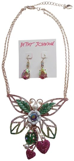Preload https://item2.tradesy.com/images/betsey-johnson-hot-pink-new-butterfly-necklace-and-earrings-24009671-0-1.jpg?width=440&height=440
