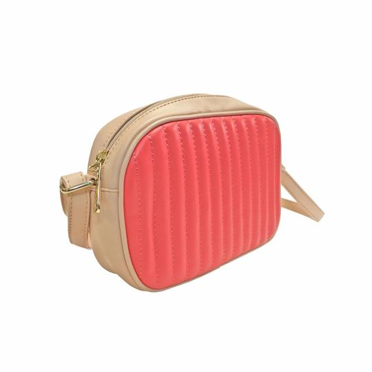Preload https://item1.tradesy.com/images/color-block-duo-tone-crossbody-coral-brown-cognac-faux-quilted-leather-clutch-24009695-0-0.jpg?width=440&height=440