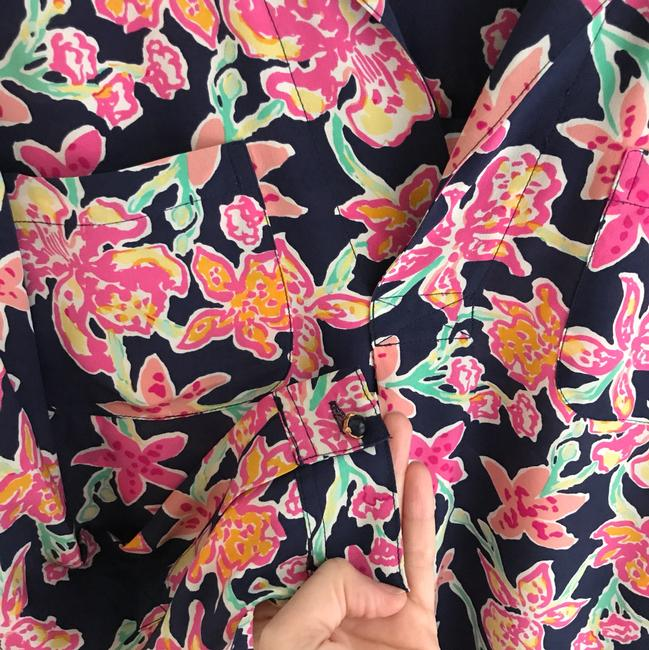 Lilly Pulitzer Top navy, pink, green & yellow