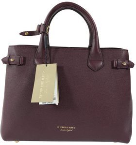 Burberry Leather Handbag Tote Satchel in Mahogany Red
