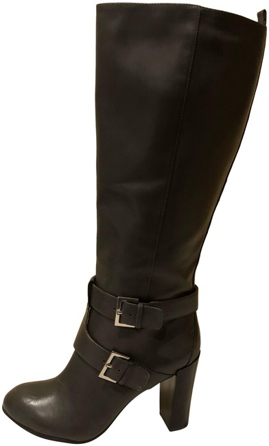 Item - Grey New Sky Light Wide Calf Buckle Leather Knee Boots/Booties Size US 7.5 Regular (M, B)