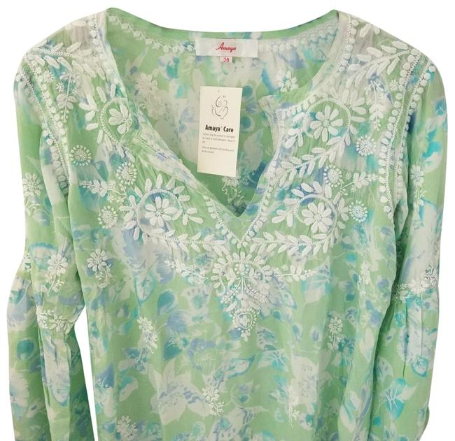 Item - Light Blue Light Green & White Eva 38) Tunic Size 8 (M)